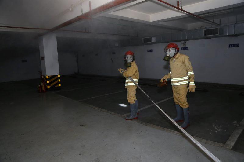 Diễn tập nghiệp vụ chữa cháy và thoát hiểm tại tòa nhà PVN, Viện Dầu Khí và bãi đỗ xe ngầm và trung tâm thương mại dịch vụ Thành Công